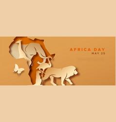 Africa day paper cut wild animal safari template vector