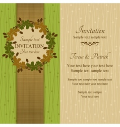 Autumn or summer invitation green and beige vector image