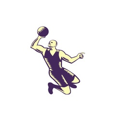 Basketball Player Dunk Ball Woodcut vector