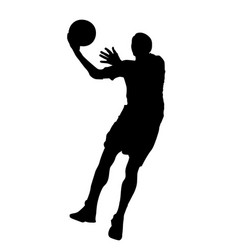basketball player jumps on a ring silhouette vector image