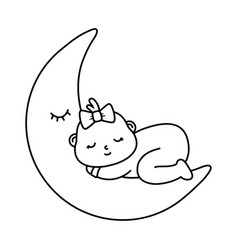 basleeping on moon in black and white vector image