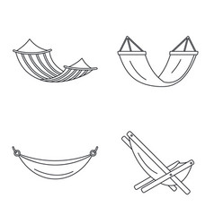 beach hammock icon set outline style vector image