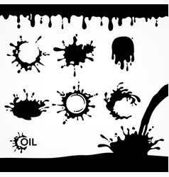 Black oil drops and splash vector