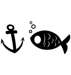black silhouette fish and anchor icon vector image
