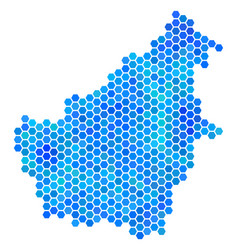 Blue hexagon borneo island map vector