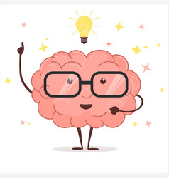 brain with glasses and idea light bulb vector image