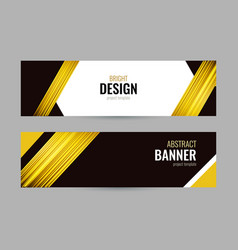 bright banner with golden strips on dark vector image