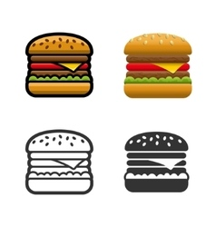 Burger colored icon set vector
