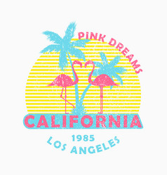California print for t-shirt with flamingo palm vector