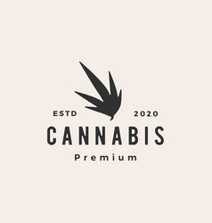cannabis hipster vintage logo icon vector image