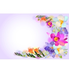 card with branch of freesia flowers vector image vector image