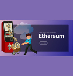 cartoon man with ethereum crypto currency poster vector image