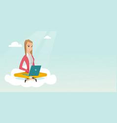 Caucasian woman using cloud computing technologies vector