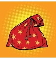 Christmas gift bag Santa Claus vector