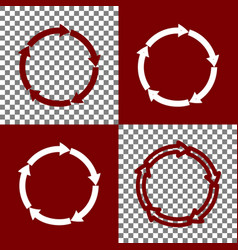 circular arrows sign bordo and white vector image