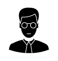 Clerk with glasses icon sig vector