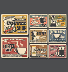 Coffee beans cups and drinks vector