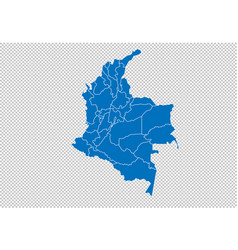 colombia map - high detailed blue map with vector image