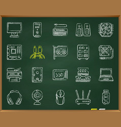 Computer chalk draw line icons set vector