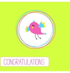 Congratulations card with cute bird vector image