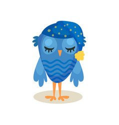 cute blue owlet sleeping sweet owl bird cartoon vector image