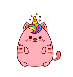 Cute happy smiling unicorn cat vector