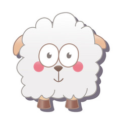 cute square sheep isolated on white vector image
