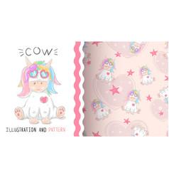 cute teddy unicorn- seamless pattern vector image