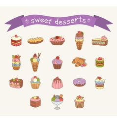 Different sweets icons set vector image