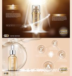 Digital golden glass bottle spray vector