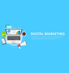 Digital marketing banner computer with graphs vector