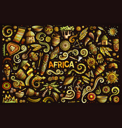 doodle cartoon set africa objects vector image