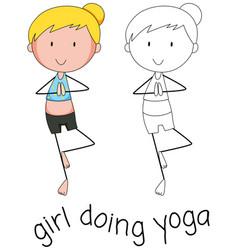 Doodle girl doing yoga vector