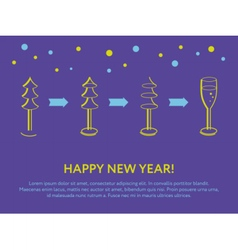 Fir and a glass of champagne New year card vector