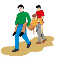 First aid two people carrying fainted person vector