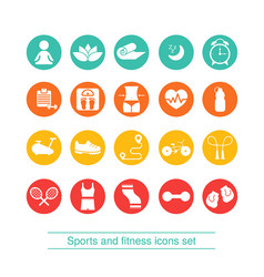fitness and sport icons collection fitness and vector image