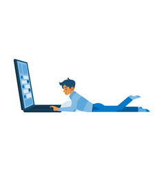 flat boy lying at floor near big laptop vector image