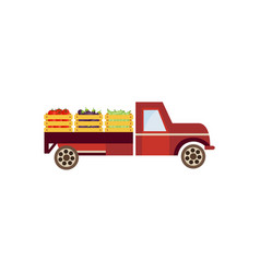 Flat farmer truck with vegetables vector