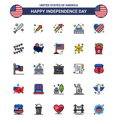 Flat filled line pack 25 usa independence day vector