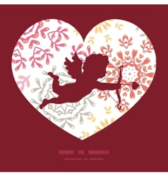 folk floral circles abstract shooting cupid vector image