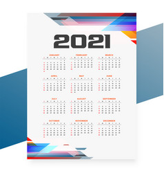 Geometric style 2021 calendar design template vector