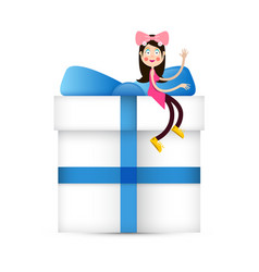 girl in pink dress sitting on white paper gift vector image