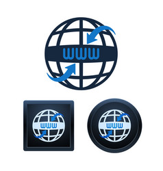 globe shaped www icons design isolated vector image