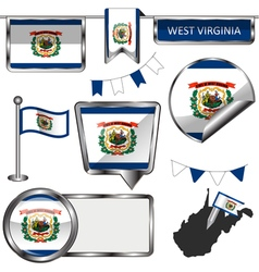 Glossy icons with west virginian flag vector