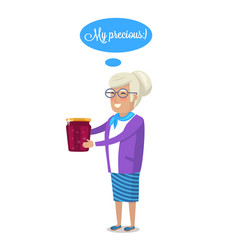 Granny with tradition berry jam or marmalade jar vector