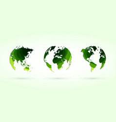 green circles globes set world planet earth vector image
