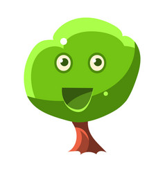 Green tree with smiling face fairy tale candy vector