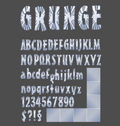 Grunge alphabet in metallic design upper case vector