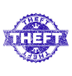 Grunge textured theft stamp seal with ribbon vector