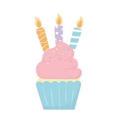happy birthday sweet cupcake with candles party vector image